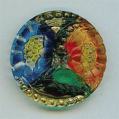 Vintage Glass Button Colorful Floral Motif with Gold Highlights