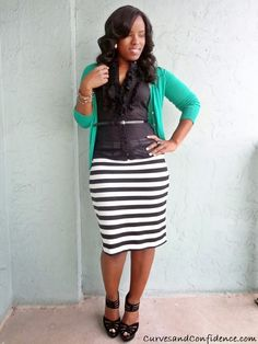 Striped Pencil Skirt via The Limited curves-and-confidence-outfits Striped Skirt Outfit, Pencil Skirt Outfits, Stripe Skirt, Striped Pencil Skirts, Pencil Skirt Black, Gray Skirt, Pencil Dress, Denim Skirt, Fashion Blogger Style