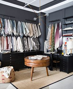 The Zak + Fox http://zakandfox.com showroom in Downtown Manhattan at its finest–matte dark charcoal walls with white trim are a sophisticated canvas for Profera's global fabrics. Designer Zak Profera utilized black wooden flat files as an excellent solution for storing a multitude of swatches and inspiration pieces.
