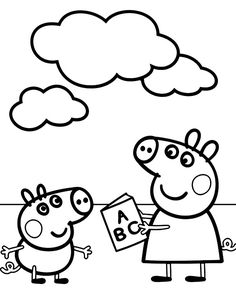 Peppa Pig Coloring Pages, Easy Coloring Pages, Cartoon Coloring Pages, Animal Coloring Pages, Coloring Books, Kids Coloring, Art Drawings For Kids, Easy Drawings, Peppa Pig Drawing