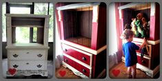"My husband and I bought this dresser 20 years ago (as part of a set).  It was solid wood - stained honey oak.  It has since been refurbished into a t.v. armoire and now a toy box/ stuffed animal organizer for our little ones.  I faux painted each ""plank"" and the top to resemble a barn.  This is one of my most fun projects!!  (Painted dresser, farm themed kids room, refurbished dresser, barn style toy box, stuffed animal organizer)"