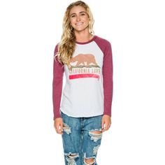 Billabong Cali Love Baseball Raglan ($30) ❤ liked on Polyvore featuring tops, t-shirts, red, red long sleeve t shirt, raglan tee, red long sleeve tee, baseball t shirt and long sleeve cotton tees