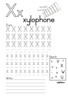 Alphabet Printable X for Xylophone and X-ray FREE! English Grammar Worksheets, Camping Games, Grade 1, Printable, Writing, School, Free, Being A Writer, Campfire Games