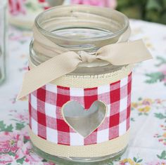 Gingham Jam Jar Candle Holder