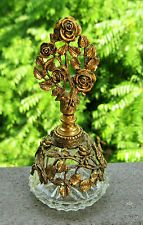 VINTAGE ORMOLU BRASS ROSES AND GLASS PERFUME/SCENT BOTTLE