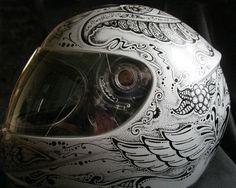 Silver helmet painted with #DiaDeLosMuertos theme | Sharpie Paint Pen