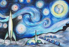 Lunar Starry Night Jerry Mac