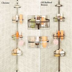 Tension Pole Corner Shower Caddy bathroom, wrought iron tension pole corner shower caddy design