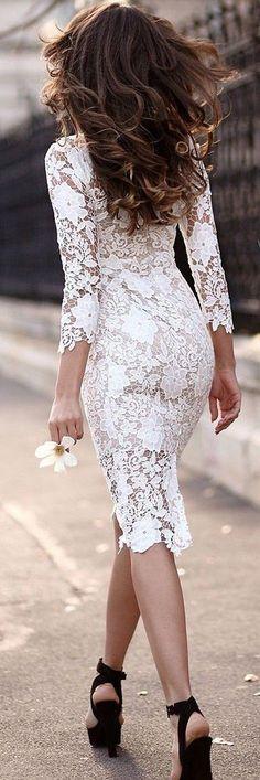 #summer #adorable #outfits |  Белый Plain Кружево полого из 3/4 рукав Midi платье