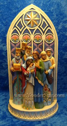 """Holy Family Cathedral Nativity by Jim Shore Heartwood Creek - from yonderstar;  11"""" tall        http://www.yonderstar.com/jim-shore-cathedral-nativity.html"""