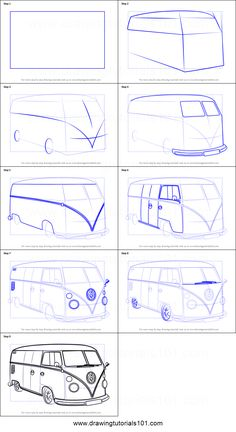 How to Draw Volkswagen Van step by step printable drawing sheet to print. Learn How to Draw Volkswagen Van Van Drawing, Car Drawing Pencil, Drawing Sheet, Pencil Art Drawings, Art Drawings Sketches, Easy Drawings, Car Drawing Easy, Perspective Drawing Lessons, Perspective Art