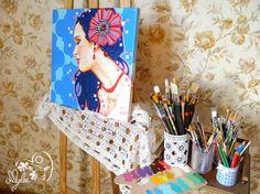 Amylee's painting #portrait #art #flowers #colours