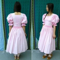 80s Dress Vintage White Pink Stripes Tea Party Dress Alice