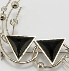 Black Silver Modernist Brooch Pin Vtg Jewelry