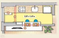 Cozinha+ área de serviço com 3,97 x 1,47 m. Bancada única com 60cm de profundidade integrando área de serviço a cozinha. Dispensa/Ármario de Serviço com profundidade de 22cm para não comprometer circulação. Cozinha integrada à sala por bancada de refeição. Largura da cozinha de 1,47m, sendo 65cm de circulação (1,47-0,60-0,22 = 0,65m).