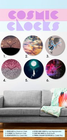 Galaxy-inspired round wall clocks - super affordable and trendy! Dorm Room Art, Wall Clocks, Home Accessories, Duvet Covers, Tic Toc, House Design, Throw Pillows, Dorm Ideas, Crafty