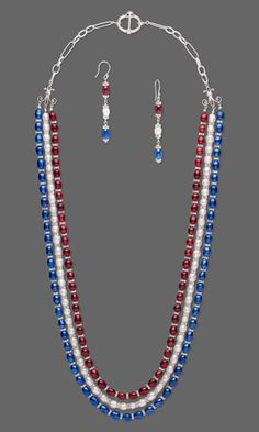 Triple-Strand Necklace and Earring Set with Cultured Freshwater Pearls and Swarovski Crystal and Plastic Beads. Design by Rose Wingenbach. #FMG Design Idea D21M