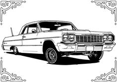 64 Chevy Impala Lowrider Coloring Pages Lowrider Drawings, Lowrider Tattoo, Lowrider Art, Car Drawings, Tattoo Drawings, Impala 64, Chicano Art Tattoos, Chicano Drawings, Gangster Tattoos