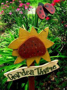 Primitive Sunflower Garden Sign by lislynn6755 on Etsy, $16.50