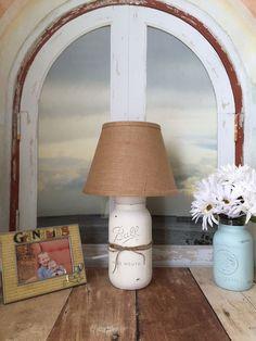 Mason jar lamp, beach cottage table lamp, burlap, rustic, shabby chic, home decor, home lighting by masonjarlampsandmore on Etsy https://www.etsy.com/listing/200004269/mason-jar-lamp-beach-cottage-table-lamp