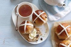 From Great Britain's Hot Cross Buns to Italy's Easter Pie - and America's favorite day-after treat, ham biscuits - we're pleased to share these Easter recipes with you. Cross Buns Recipe, Bun Recipe, Recipe King, Recipe Box, Biscuits, Icing Ingredients, Hot Cross Buns, King Arthur Flour, Fancy Cookies