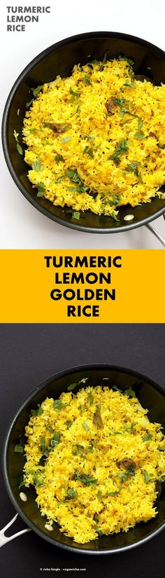Turmeric Lemon Rice Recipe. Indian Golden Rice with turmeric, lemon and mustard seeds. Use cooked brown rice, quinoa or millet or couscous for variation. Easy Side. #Vegan #Glutenfree #Soyfree #Recipe | VeganRicha.com
