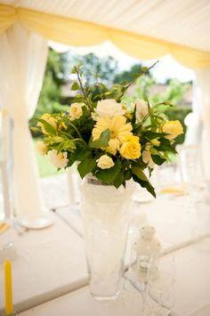 yellow wedding tablecentre flowers