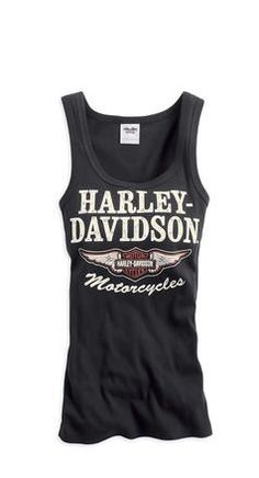 Harley-Davidson® Women's Black Iconic Tank Top that Rose wears. Harley Davidson Womens Clothing, Harley Davidson Tank Tops, Harley Davidson Shoes, Harley Shirts, Harley Gear, Motorcycle Style, Biker Style, Motorcycle Clothes, Motorcycle Jeans