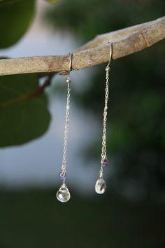 Dangling crystal earrings by seadragongems on Etsy, $20.00