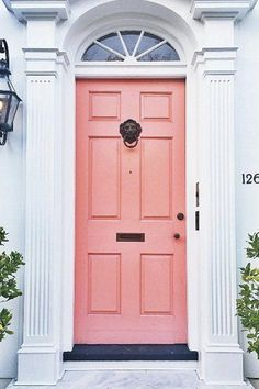 19 Chic Ways To Use Coral In Your Home. Colored DoorExterior ...