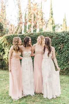 Jenny Yoo 2016 Mismatched Pink Bridesmaid Dresses / http://www.deerpearlflowers.com/jenny-yoo-2016-bridesmaid-dresses/
