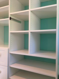 Closet Creations designed this custom closet! Painting the wall a different color makes the closet pop White Closet, Different Colors, Shelving, Bookcase, Pop, Wall, Painting, Design, Home Decor