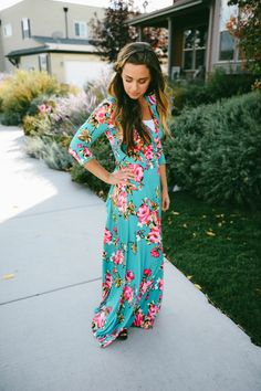 Floral Wrap Maxi Dress - 2 Colors!