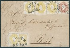 """Austria, Michel 10IIa,18a,20a - 2 Kr. gelb, Type II, Ausgabe 1858/59 in wertstufengleicher Mischfrankatur mit vier Exemplaren 2 Kr. gelb, Ausgabe 1861 und 5 Kr. hellrot, Ausgabe 1861 als portogerechte 15 Kr.-Frankatur, Marken waren gelöst und sind gereinigt, mit Zier-Segmentstempel """"ZDITZ 18.OCTO. (1861)"""" (Müller Nr. 3324b) nach Pest/Ungarn mit Ankunftsstempel. Eine der größten Frankatur-Raritäten dieser Ausgaben und auch im Ferchenbauer-Spezialkatalog in dieser Form nicht verzeichnet…"""