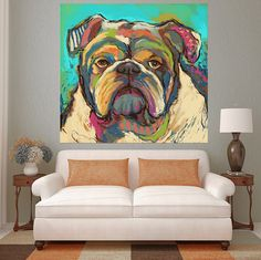 Bulldog Abstract Wall Oil Painting Print on Canvas