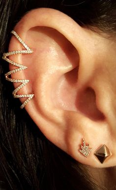 Gold and Diamond Cage Ear Topper - The EarStylist by Jo Nayor - 4