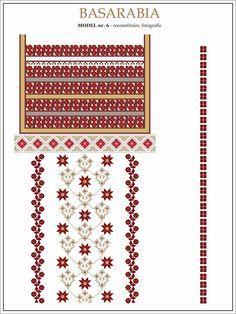 traditional Romanian pattern - north of Bessarabia Russian Embroidery, Folk Embroidery, Embroidery Stitches, Embroidery Patterns, Knitting Patterns, Cross Stitch Charts, Cross Stitch Patterns, Romanian Lace, Point Lace