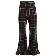 A.W.A.K.E. Jellycheck flared cropped trousers (€400) ❤ liked on Polyvore featuring pants, capris, navy multi, high-waist trousers, high waisted flared pants, checked pants, cropped capri pants and checkered pants