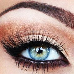 Copper & black eye makeup...blue eyes pop