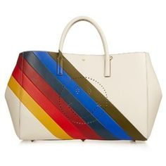 Anya Hindmarch Ebury Rainbow-stripes Smiley Leather Tote In Off-white White Leather Handbags, Leather Purses, Leather Totes, Rainbow Bag, White Tote Bag, Tote Handbags, Tote Bags, Tote Purse, White Purses
