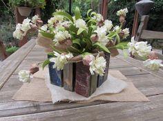 Flower Table Decor Flower Arrangement Floral Arrangement Floral Centerpiece White Flowers Wooden Flower Box Rustic Table Decor Burlap Decor