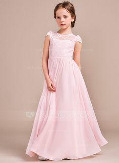 Corte A/Princesa Hasta el suelo Vestidos de Niña Florista - Gasa/Encaje Sin mangas Escote redondo (010096124)
