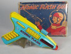 1950s J Chein Tin Atomic Flash Sparkling Ray Gun in The Box Excellent RARE Box | eBay