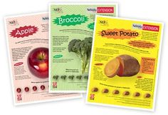 Fruit and Vegetable Fact Sheets  Set of 30 fruit and vegetable fact sheets with information about: nutrition, uses, description, varieties, where first cultivated and whether they are grown in Nebraska. Color versions are color-coded to the five color groups