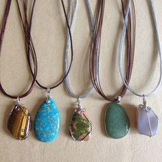 New: 5pcs Gemstone Pendant with Necklace New: 5 pcs Gemstone Pendant with Necklace: Jewelry Necklaces