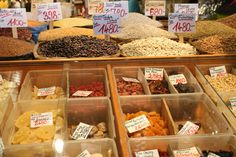 Dried goods sold by weight in the Great Market Hall of Budapest.