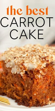 J Alexanders Carrot Cake / full of carrots and pineapple, soaked in a yummy buttermilk syrup, and topped with the best ever cream cheese frosting Carrot Recipes, Easy Cake Recipes, Dessert Recipes, Vegan Desserts, Just Desserts, Food Cakes, Cupcake Cakes, Best Carrot Cake, Mini Carrot Cake