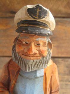 Flat plane - Vintage Sea Captain Salty Dog Wood Carved Sailor Folk Figure
