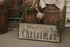 Early Antique Reproduction Primitive Wooden Merry Christmas Sign. $38.00, via Etsy.