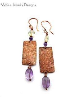 Purple amethyst and green amethyst gemstone with copper earrings. McKee Jewelry Designs